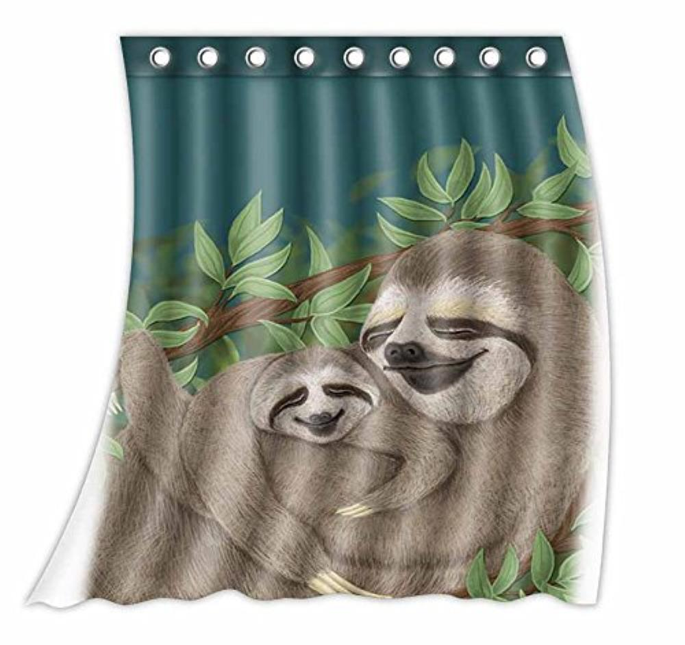 Custom Two Otters Huge Pattern Curtain Polyester Fabric Window Curtain Size 52wx63h inch (One Piece) window valance