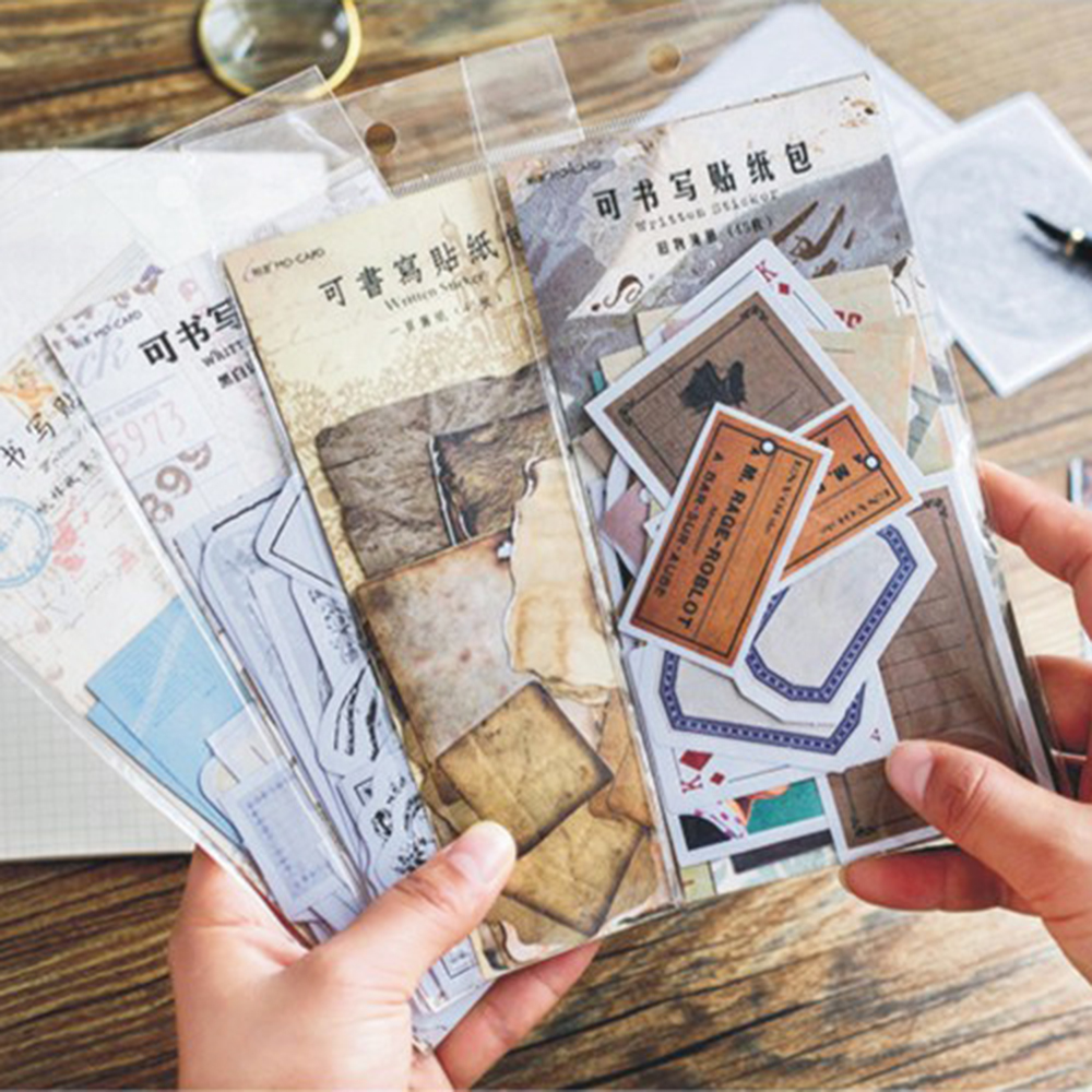 45pcs Vintage Memories Writable Paper Crafts Notebook DIY Scrapbooking Stickers
