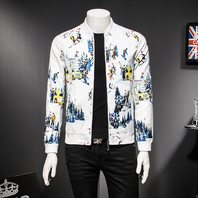 2018 Spring Men Jackets and Coats New Stylish Print Casual Mens Bomber  Jacket Long Sleeve Plus Size Wind Breaker Outwear Jackets 3954d6d2096d