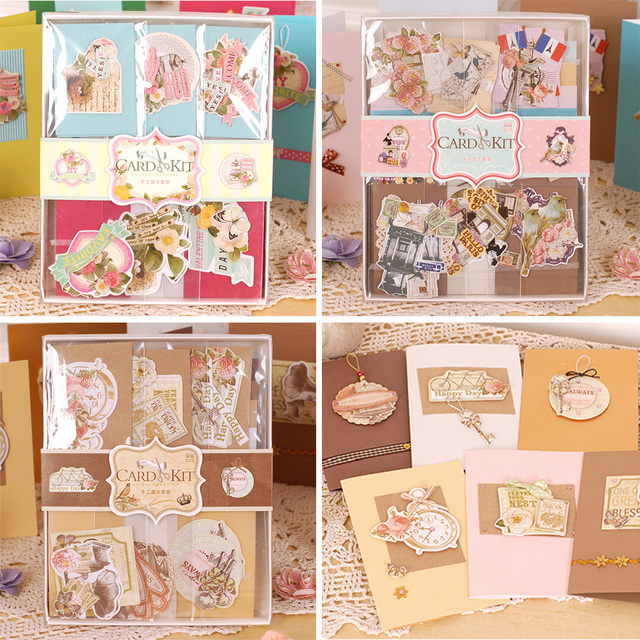 Diy vintage card kit set creative gift greeting card making kit for diy vintage card kit set creative gift greeting card making kit for kidsfriends stopboris Image collections