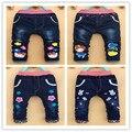 Nova primavera roupas de outono das crianças do bebê das meninas dos meninos jeans crianças dos desenhos animados calças calças de varejo 2-5 anos de idade frete grátis