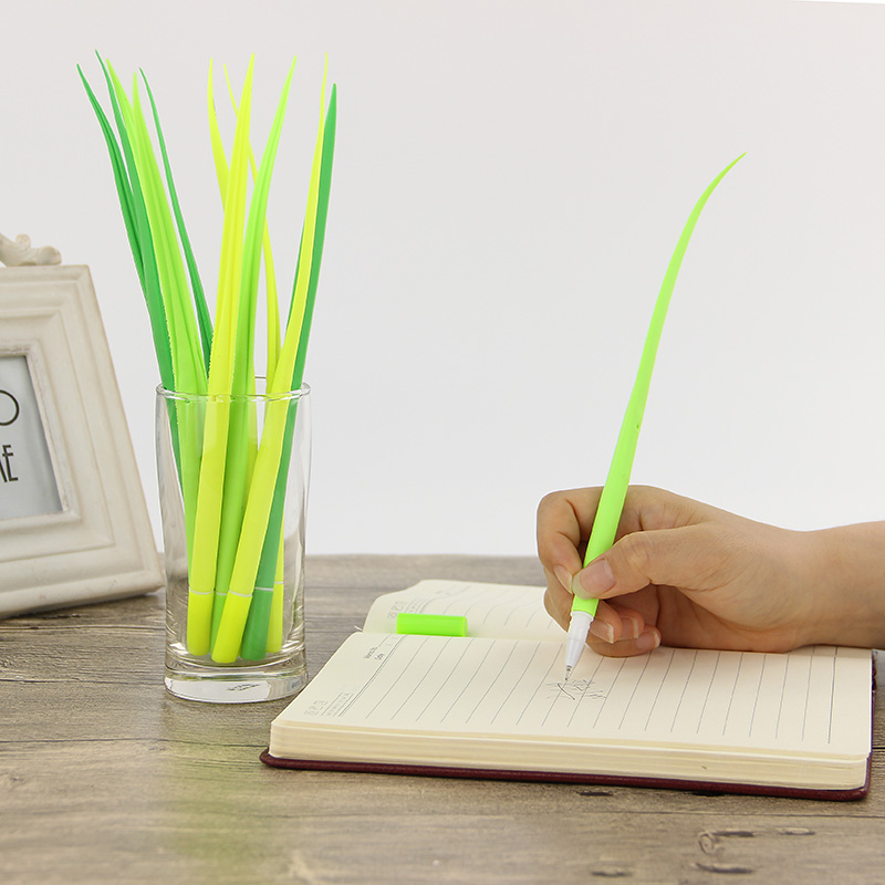 6PCS Office School Writing Pen Grass Soft Green Gel Pen Decoration Plant Pen Supply Gift