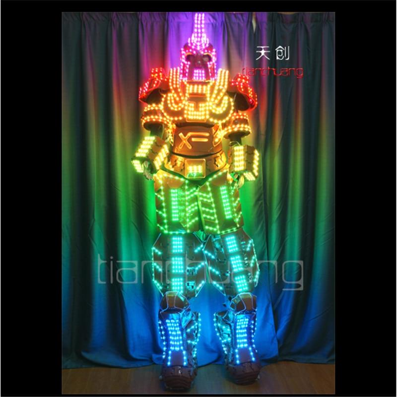 TC 138Programmable Full color RGB led robot men costumes luminous light robots stilts led costumes stage wears mechanic clothes