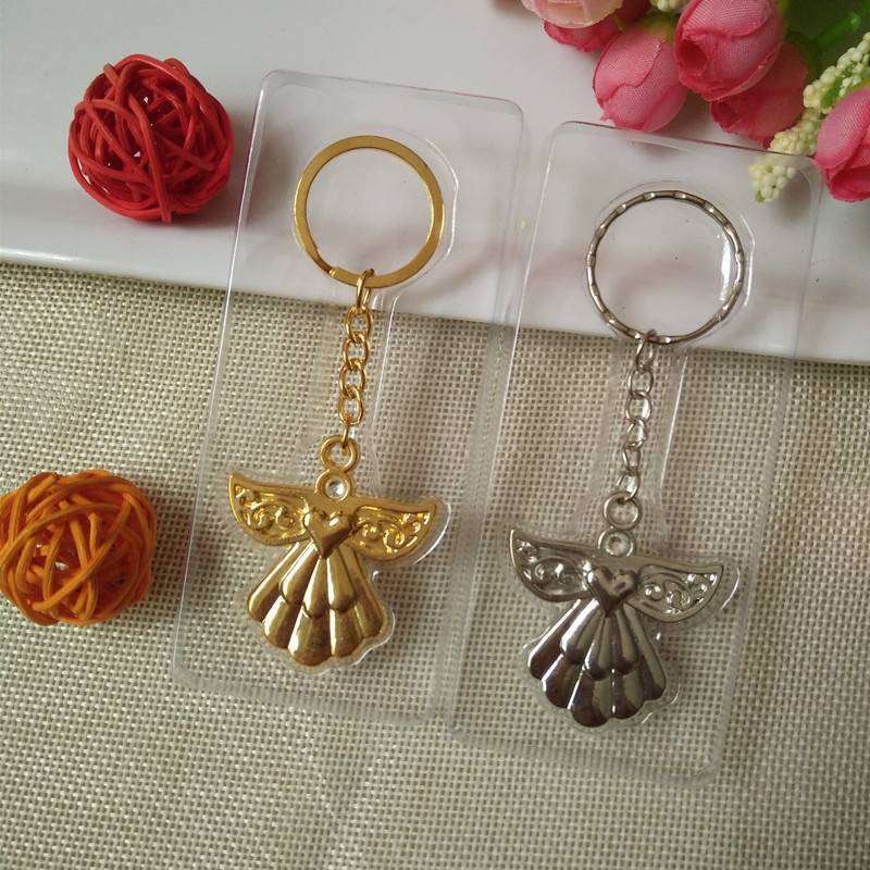40PCS Baby Christening Gift Guardian Angel Silver Key Chain Wedding Bridal Shower Favors For Guest
