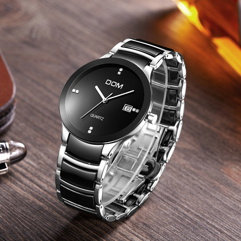 DOM women watches luxury brand Casual waterproof style quartz ceramic Automatic date watch T-529D-1M
