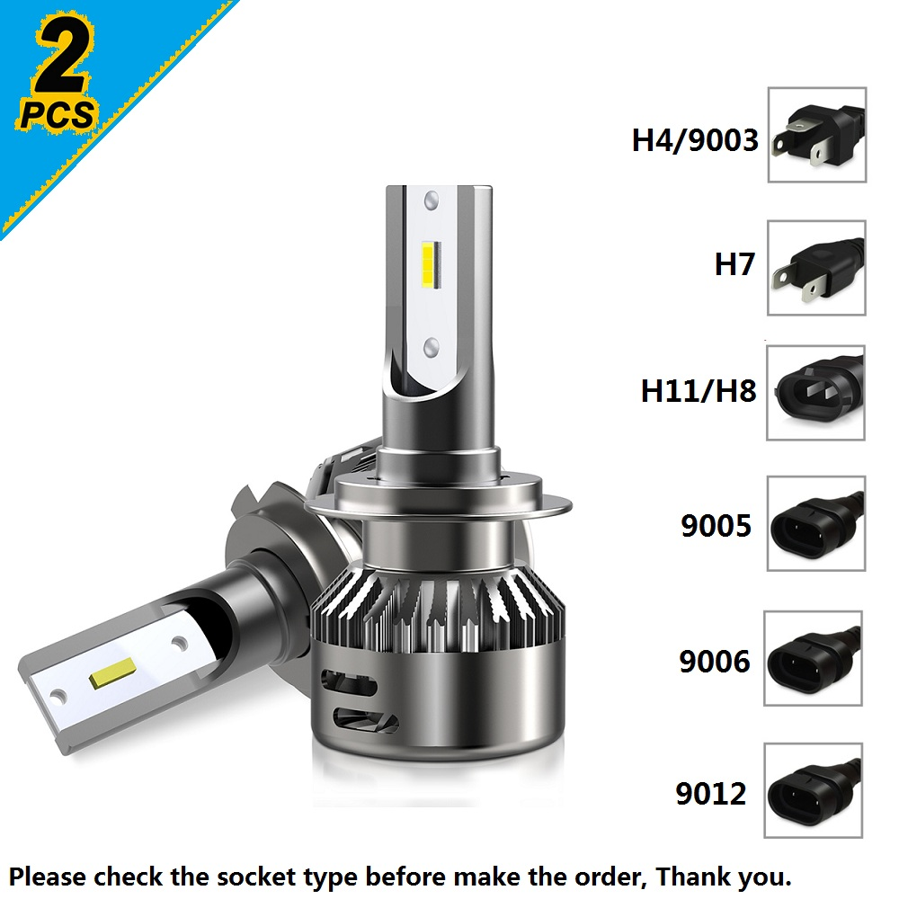2pcs Canbus H7 H4 H1 H11 Car LED Headlight Bulbs 6000K 16000LM For Mercedes  Benz W211 W210 W212 W204 W203 W205 W202 W220 W221