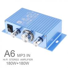 A6 DC12V 2.0 Two Channel MP3 in Hi Fi Stereo Amplifier with 3.5AUX Interface for Car/PC/Speakers/CD/Motorcycle/Subwoofer