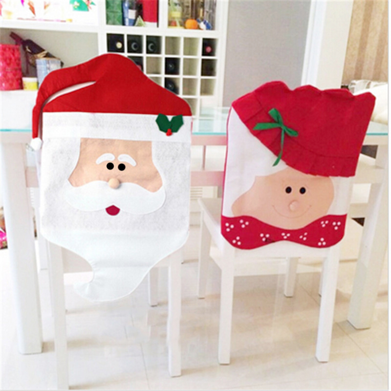 Christmas Chair Covers Ebay Glider Stool 2pcs Hat Slip Decorations With Mr Mrs Santa Claus Smile Face For Home Party Decor In Cover From Garden On