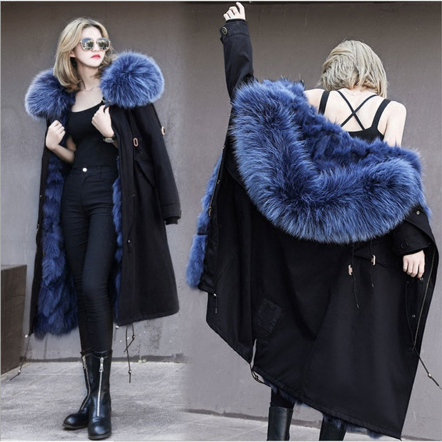 New Winter Women's Fashion Extra Long Thick Real Fox Lining Black Coats Jackets Female Casual Big Real Raccoon Fur Hooded Parkas