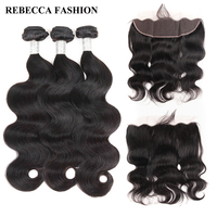 Rebecca Brazilian Body Wave 3 Bundles Human Hair Bundles With Frontal Closure 13x4 Lace Frontal With