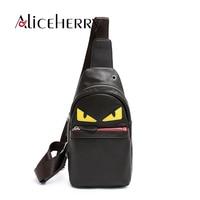 Nowy marka projektowanie PU leather Mężczyźni Pierś pakuje Cartoon Mały potwór dorywczo Torba podróżna rocznika torby na ramię bolsa masculina