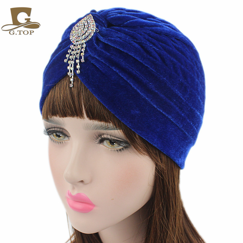 NY lady Velvet jeweled hänge Inspirerad Turban Headband Headpiece Hat huvud wrap