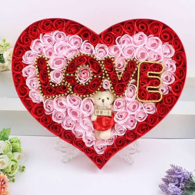 2016 cute cartoon teddy bear artificial rose flower love foam soap, Ideas