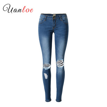 Fashion Low Waist Ripped Jeans Women Super Elastic Hole Women Jeans Wild Blue Skinny Jeans Push Up Vintage Pantalon Femme 2019 blue fashion low waist ripped letter pattern skinny jeans