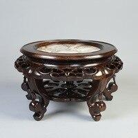 Red wood Marble Vase flowerpot rack ornaments circular base