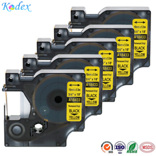 5pack 19mm Compatible Dymo IND Vinyl Labels 3/4″ 18433 Black on Yellow laminated label tape for Dymo Rhino printer ribbon