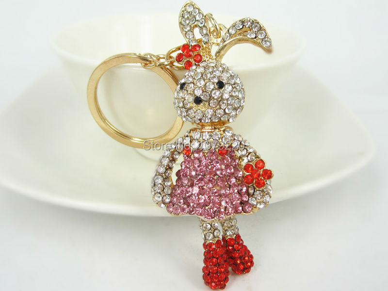 Rabbit Red Car Lovely Keyring Fashion Jewelry Women Bag Rings Crystal Rhinestone Charm Pendant Key Chain Gift moda 2015