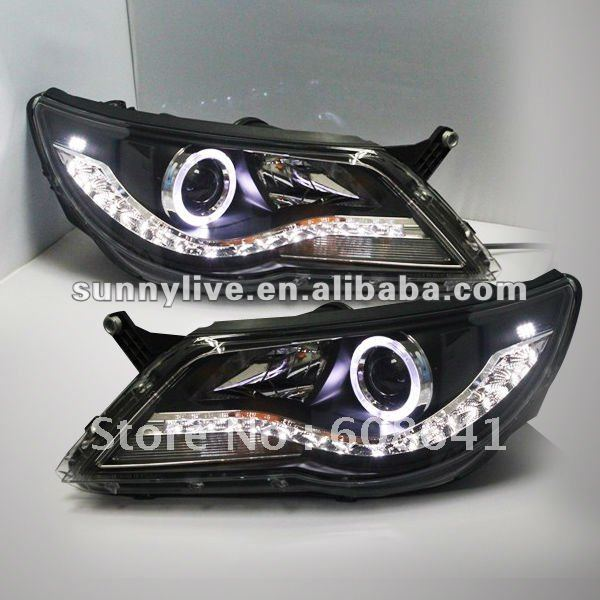 For VW Tiguan LED Head Lamp Angel Eyes 2010 V1 Type brand new superb led cob angel eyes hid lamp projector lens foglights for vw tiguan 2010 2012