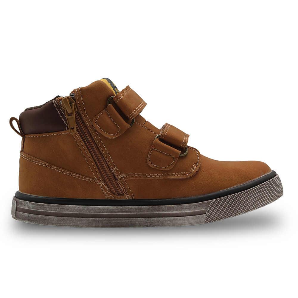 Apakowa ฤดูใบไม้ผลิฤดูใบไม้ร่วงเด็กรองเท้าสบายๆรองเท้าเด็กวัยหัดเดิน Littler เด็กสีน้ำตาลข้อเท้าสูงกีฬารองเท้าวิ่งรองเท้าผ้าใบ