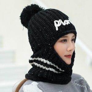 Image 4 - Chapéus de inverno balaclava malha gorro pescoço mais quente chapéus femininos moda feminina lantejoulas multi funcional skullies gorros bonés