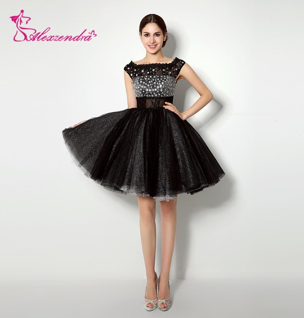 Alexzendra Stock   Dress   Mini Black Skirt   Prom     Dresses   Crystals Cap Sleeves Homecoming   Dresses   for Girls