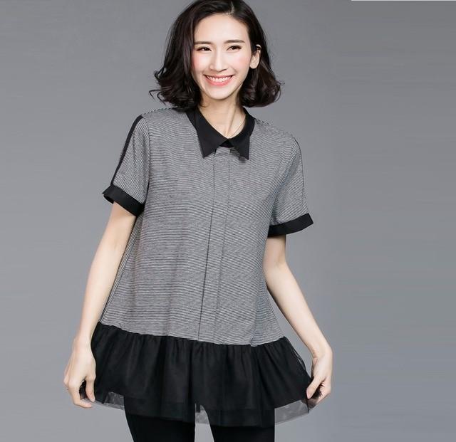 99ea8826243 2017Summer Cute flare tops women loose fit blouse peter pan collar ruffled  stripe casual shirt plus