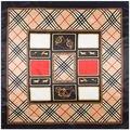 90 cm * 90 cm Geometria Grade estilo Britânico das mulheres de seda de cetim grande lenço quadrado