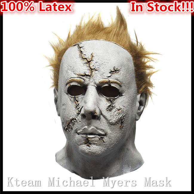 Original 100% Latex Horror Movie Halloween Michael Myers Mask, Adult Party Masquerade Cosplay Latex Face Head Mask with Hair