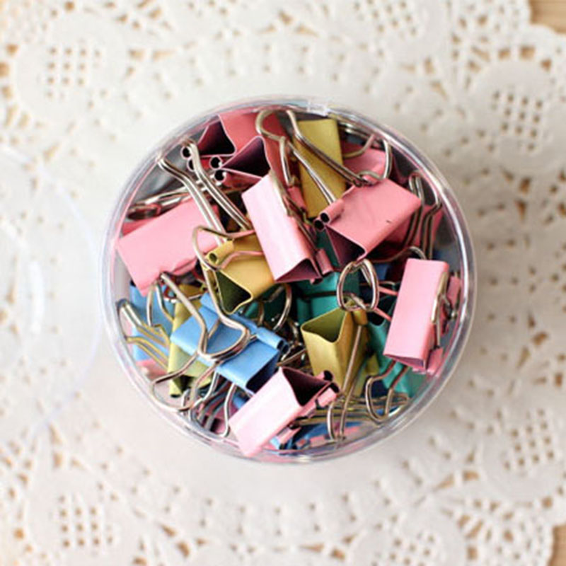 48 Pcs/box Colorful Metal Binder Clips 25mm Notes Letter Paper Clip Office Supplies Color Random Office Binding Products kitmmmc214pnkunv10200 value kit scotch expressions magic tape mmmc214pnk and universal small binder clips unv10200