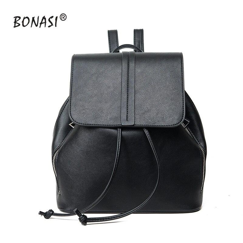 2017 New Fashion PU Leather Backpacks Women Bag Waterproof Drawstring Bagpack