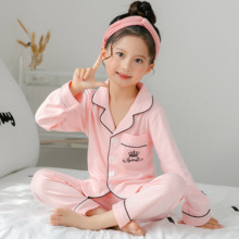 Купить с кэшбэком Cotton Children Pajamas set 2018 Autumn Spring Kids Long Sleeve sleepwear Suit Lovely Girl cute Home Cloth toddler pajamas