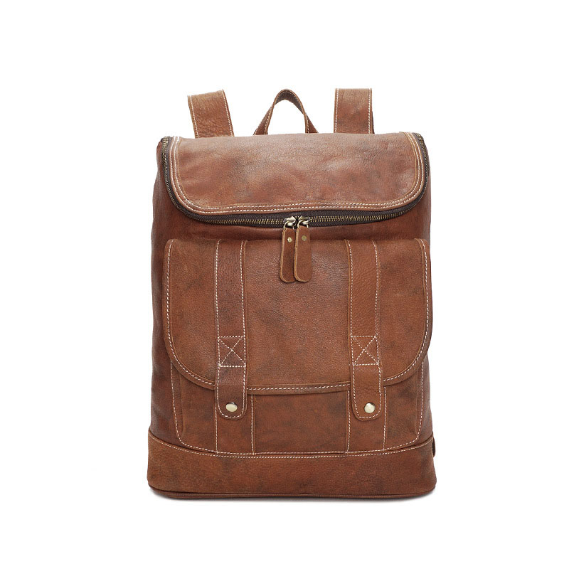 Vintage Backpack Men Cow Genuine Leather Anti Theft Laptop Back Pack Crazy Horse Leather Kids Teenager School Travel Male Bag