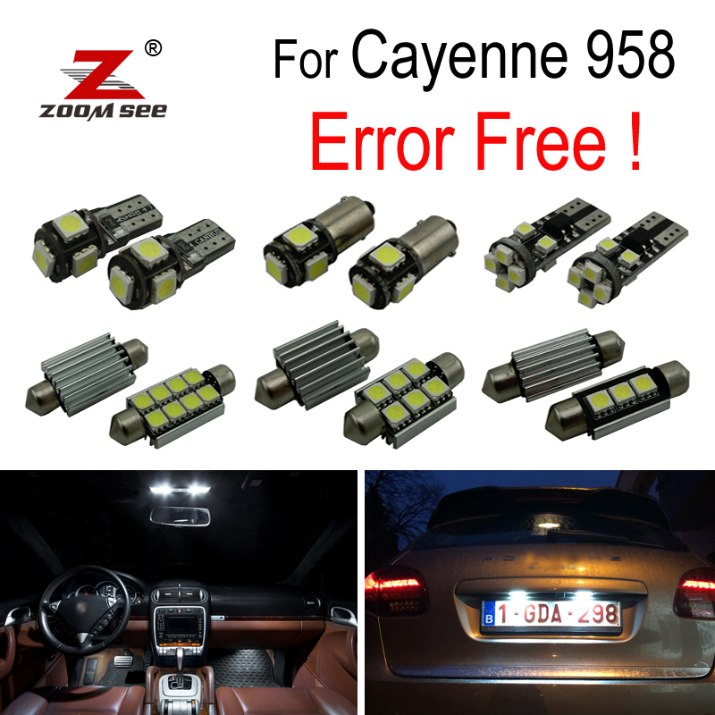 19pcs LED License plate lamp For Porsche for Cayenne 958 LED Interior dome map reading Lights bulb Kit (2011+)