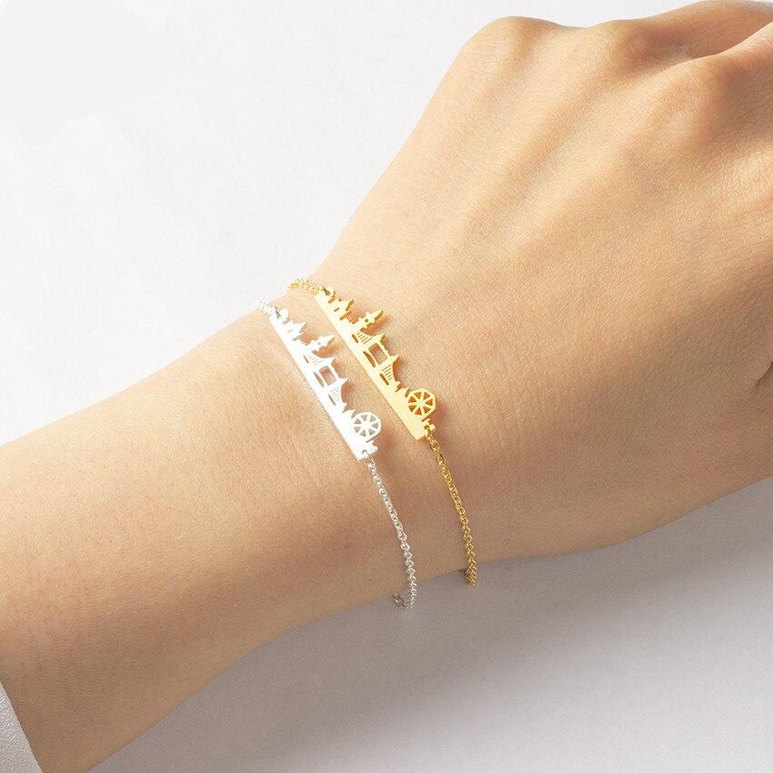 Vintage Nerezová ocel Londýn Skyline náramek ruční Bar Pulseras Mujer Gold Silver vysoce kvalitní šperky Suvenýry Dárky B  t