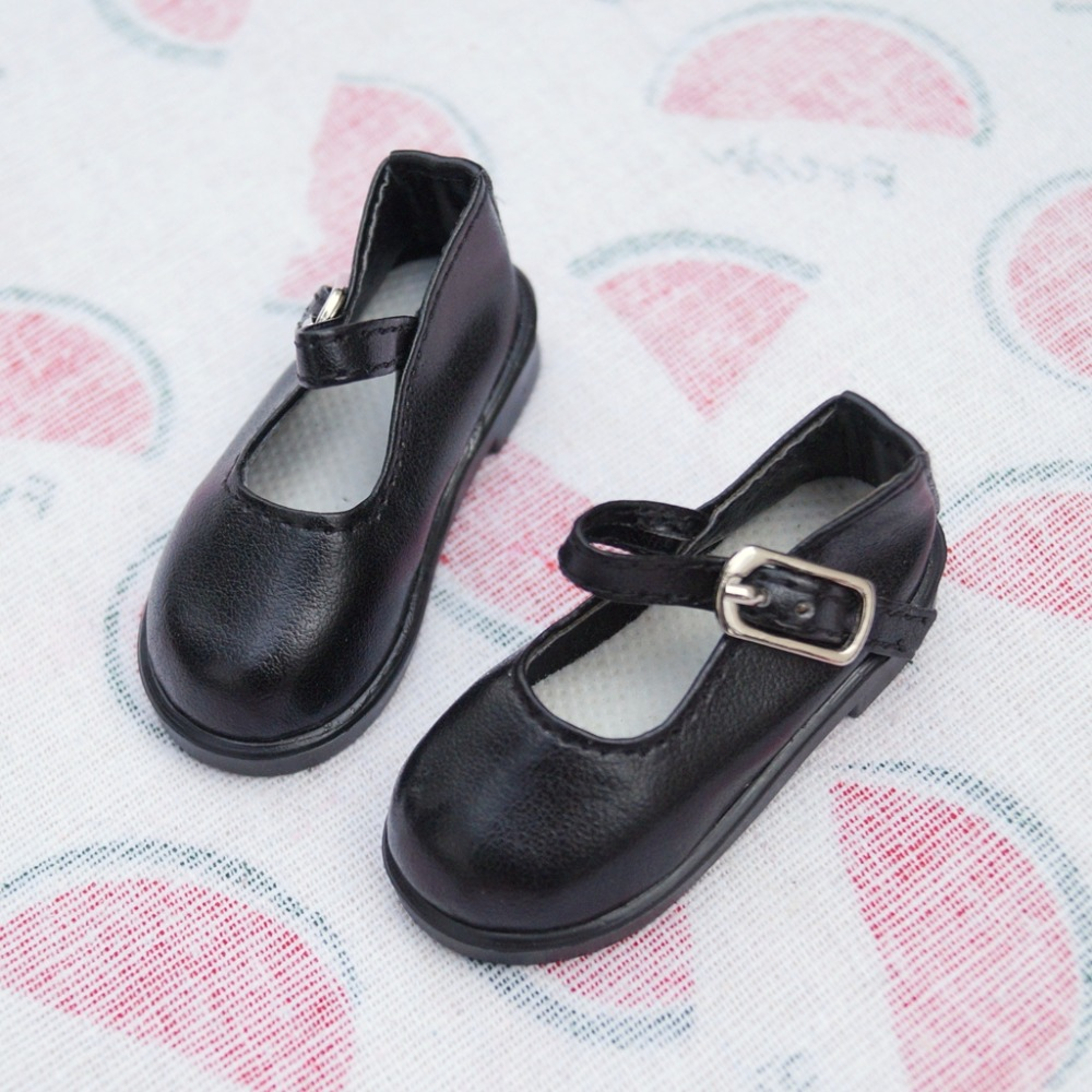 """1//6 Black Flats Shoes Synthetic Leather Panada For 11/""""  BJD YOSD DK DD DZ DOLL"""