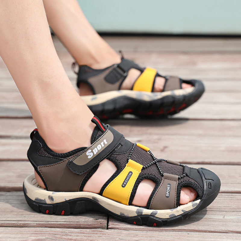 f616a4a2e339 New Sandalia Male Casual Flip Flops Sandals Shoes Hiking PU Leather Men  Professional Summer Bicycle Shoes Slippers Outdoor 38-44