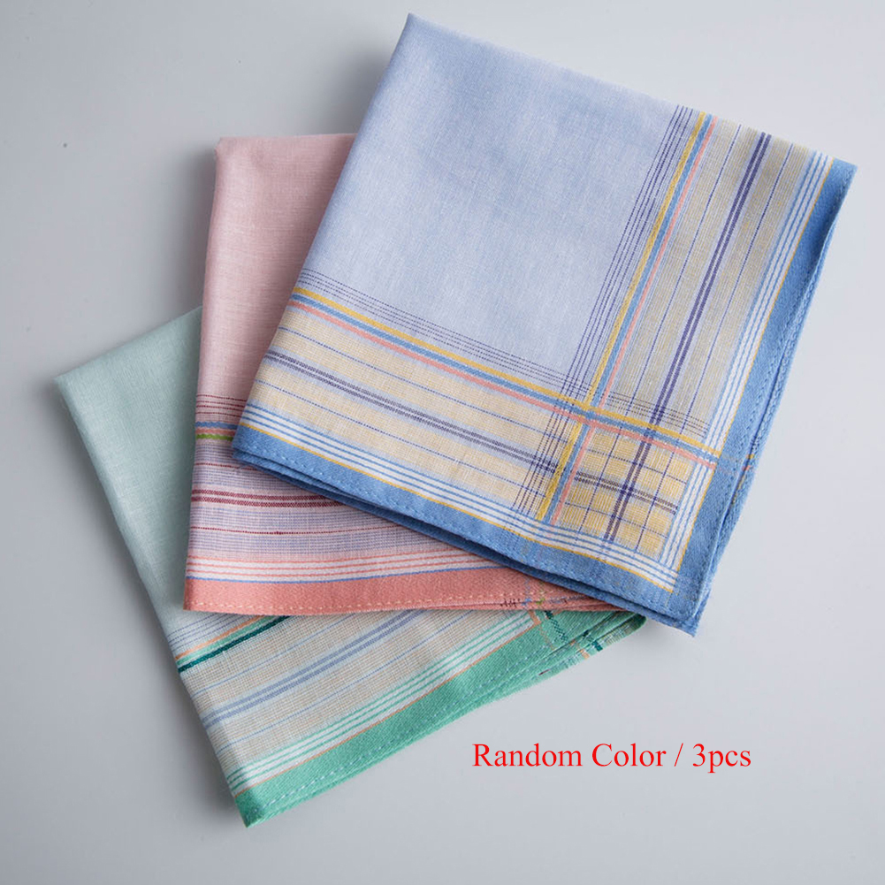 3Pcs Multicolor Plaid Stripe Men Pocket Squares Business Chest Towel Pocket Hanky Handkerchiefs Hankies Scarves 100% Cotton