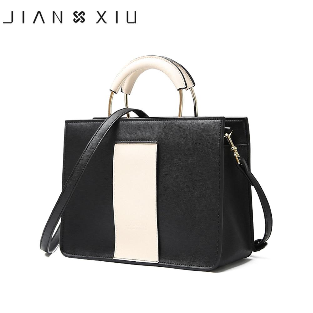 JIANXIU Brand Genuine Leather Handbag Cross Texture Luxury Handbags Geometric Color Women Bags Designer Tote Casual Shoulder Bag