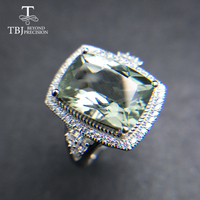TBJ,Big cushion 12ct natural green amethyst quartz gemstone jewelry set pendant ring 925 sterling silver classic gift for women