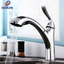Chrome Polished Copper Kitchen Faucet Pull Out Sprayer Single Lever Sink Mixer Tap For Kitchen Sink Mixer Water torneira cozinha frap 304 stainless steel kitchen faucet high arch kitchen sink faucet pull out rotation spray mixer tap torneira cozinha fld1908