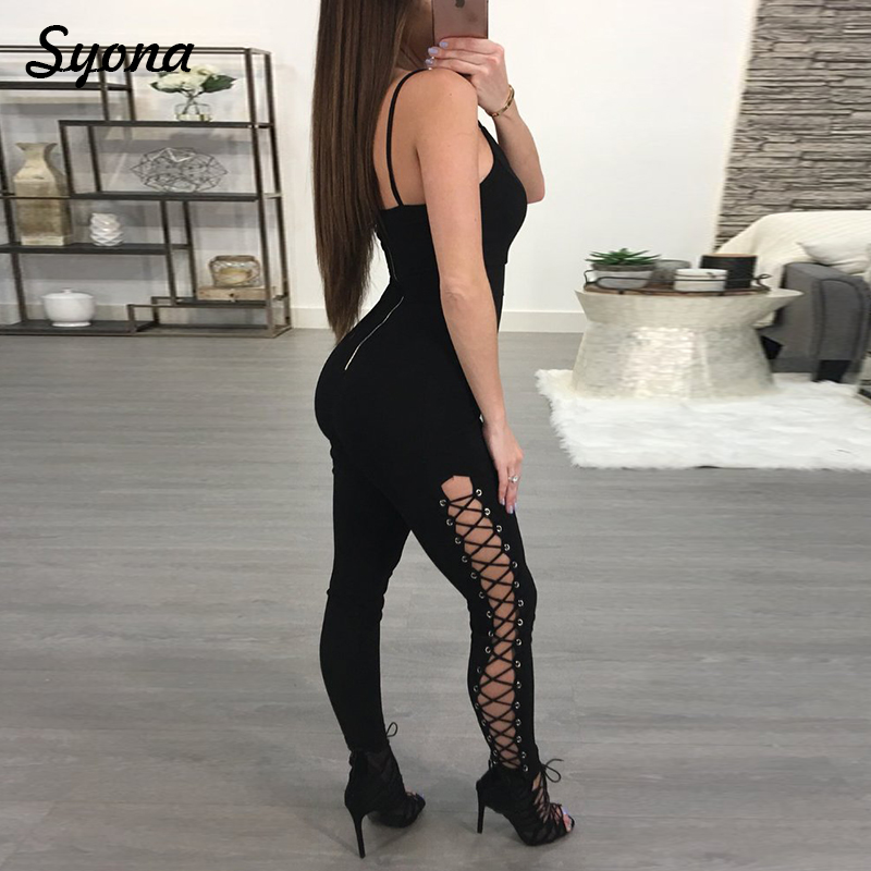 2018 New Casual Slim Sexy Bandage ROMPERS WOMENS JUMPSUIT STRAP Sleeveless Overall Elegant Zipper Back Black Party Clubwear Club