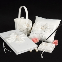 Wedding Collection Set In Ivory Satin With Crystal And Pearl Accents 4 Pieces