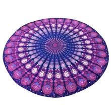 2017 nueva moda purple gasa toalla de playa impresa ronda hippie mandala tapiz playa tiro roundie toalla yoga mat bohemio