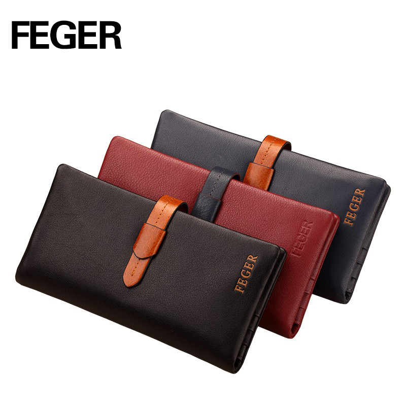 FEGER branded multicolor mens long type hasp wallet genuine leather thin clutch wallet big volume