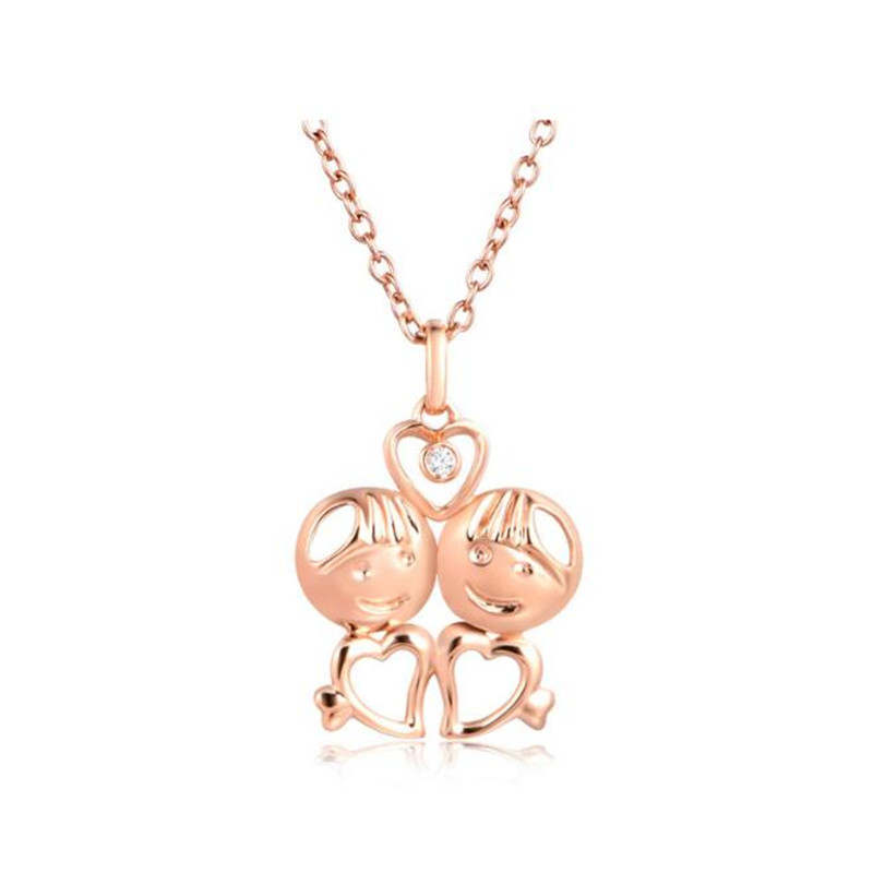 2018 18K Gold Fashion Crystal Twelve Constellations Gemini Necklaces Pendants Rose Gold Color For Women Girl Gift 0.90g sa silverage 2018 women twelve constellations choker pendants necklaces personality fashion trend lettering chain necklaces