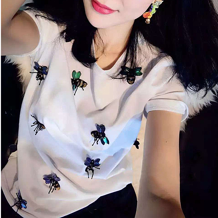 2018 New Brand Spring Summer Fashion Loose Sexy Letter Lips Print T-shirt Embroidered Bee Bead Sequins Tops Leisure Bee T-shirt