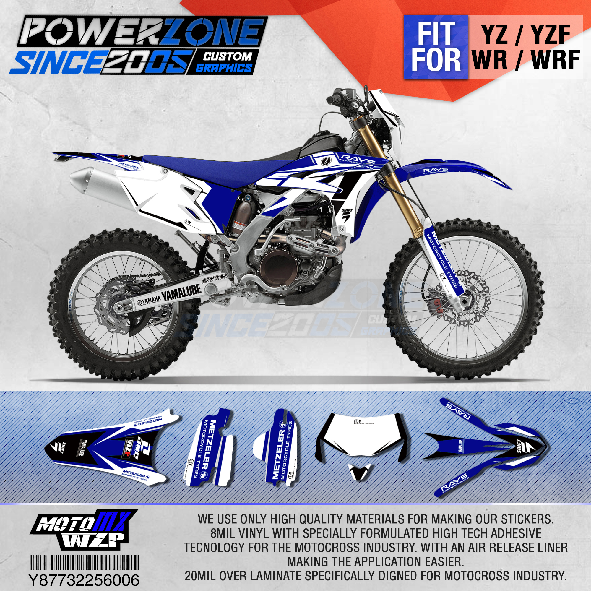 PowerZone Customized Team Graphics Backgrounds Decals 3M Custom <font><b>Stickers</b></font> For <font><b>YAMAHA</b></font> <font><b>WR450F</b></font> WR WRF 450cc 2016 2017 2018 2019 006 image