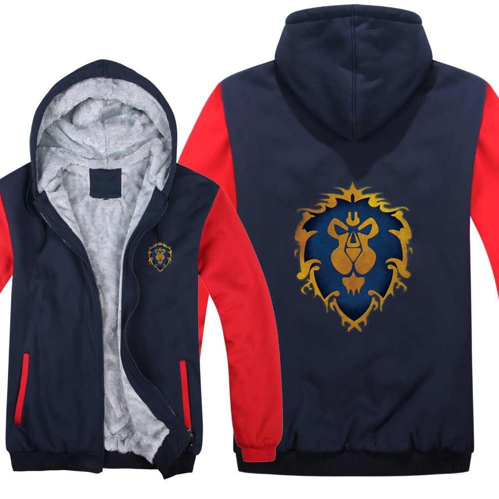 Nowa zimowa ciepła bluza z kapturem gra Dota 2 płaszcz ALLIANCE & Horde kurtka płaszcz mężczyźni gruby polar Zipper Luminous WOW bluzy