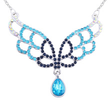 N163 Rhinestone Angel Wings Teardrop Necklace Silver Color Jewerly Allergy Free 2017 Women Pendant Necklace(China)