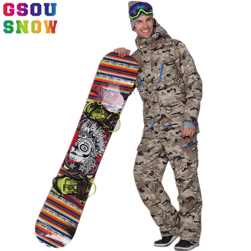 GSOU SNOW Brand Winter Ski Suit Men Ski Jacket Pants Waterproof Sets Snowboard Jacket Pants Mountain Skiing Suits Snow Clothes brand gsou snow technology fabrics women ski suit snowboarding ski jacket women skiing jacket suit jaquetas feminina girls ski